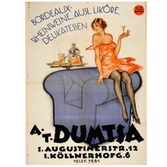 Large Original Vintage Art Deco Poster For Dumtsa Bordeaux Rhine Wines and Food