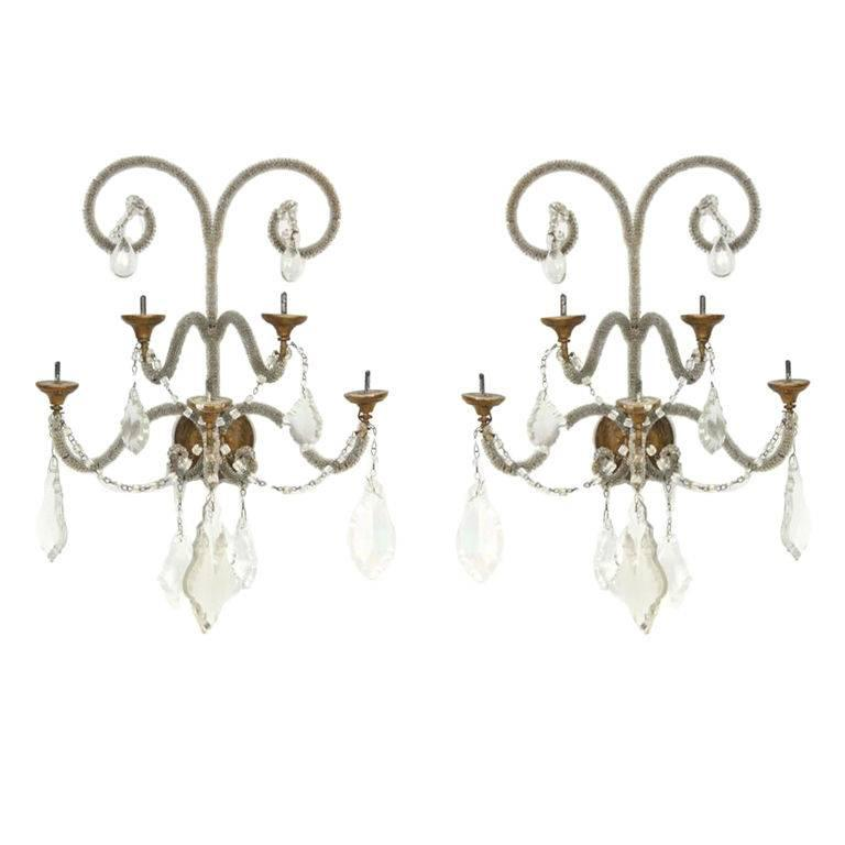 Pair of Crystal and Glass Beaded Sconces with Giltwood Bobeches For Sale
