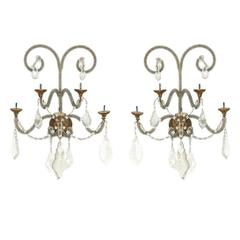 Pair of Crystal and Glass Beaded Sconces with Giltwood Bobeches