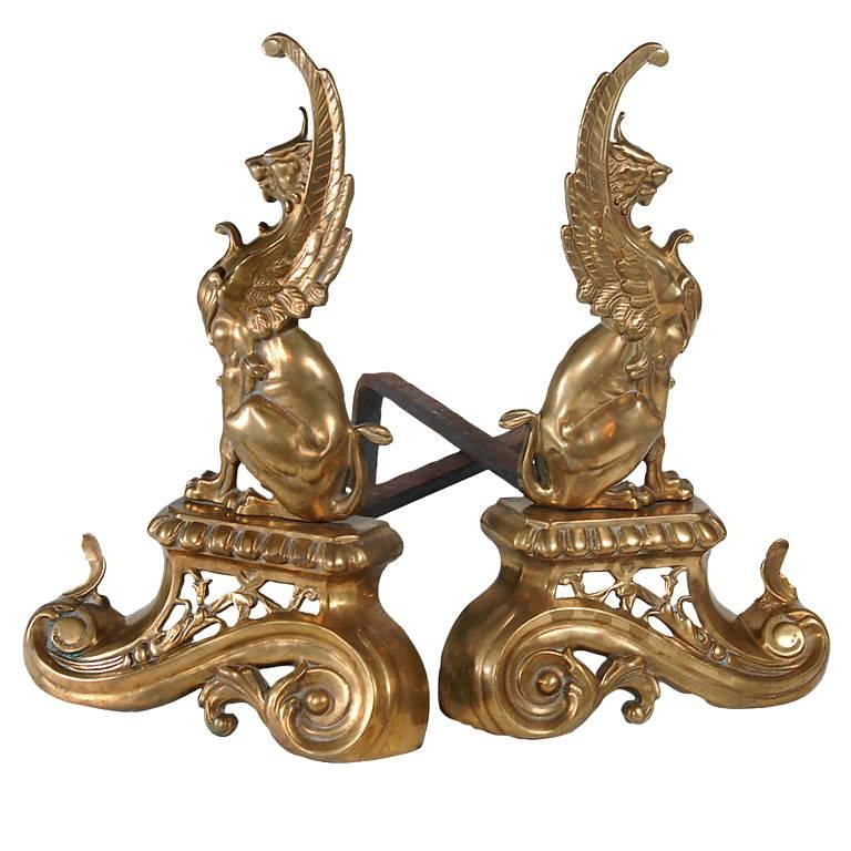 French Brass Griffin Andirons