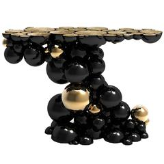 Spheres Console Table with Aluminium Black and Gold Spheres