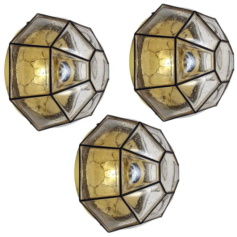 Three Large Iron and Bubble Glass Ceiling or Wall Flush Mounts by Limburg, 1960s