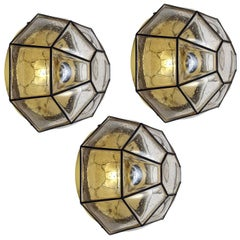 Large German Vintage Bubble Glass Ceiling or Wall Flush Mounts, 1960s