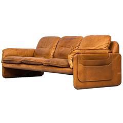 Sofa in Cognac Braun, produziert von De Sede in der Schweiz