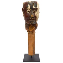 Folk Art Wood and Gesso Painted Head, Early 19th Century