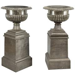 One Pair Very Stately 19th Century English Urns on Stands, Brushed Steel Finish
