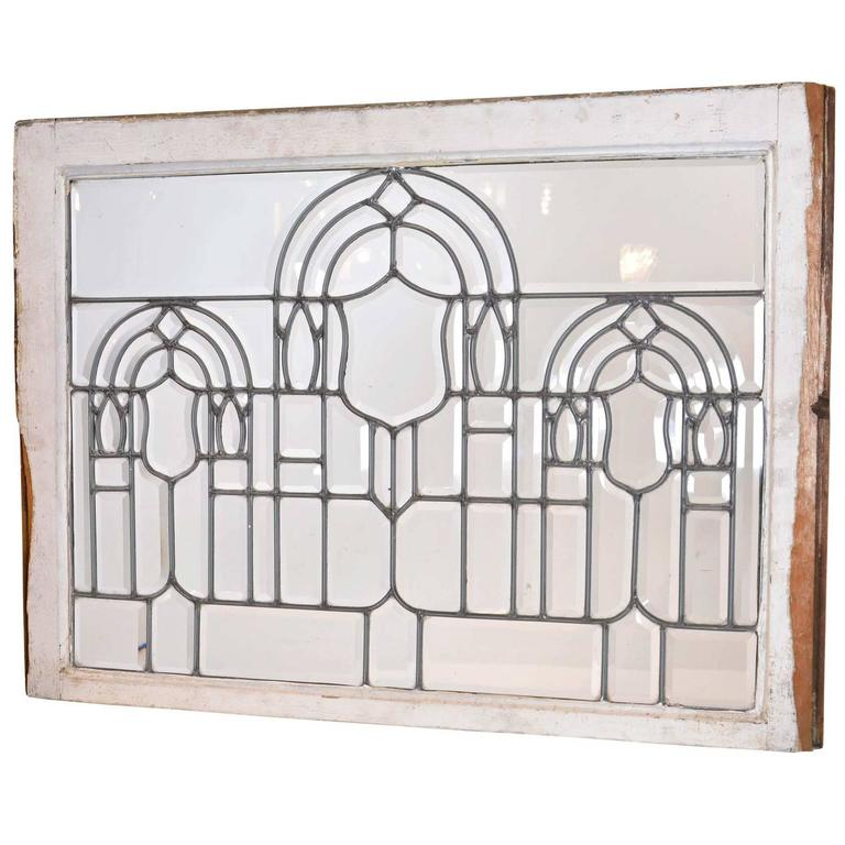 Turn-of-the-Century Beveled Glass Window with Arches
