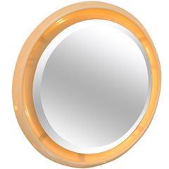 Italian 1970s Circular Back-Lit Wall Mirror