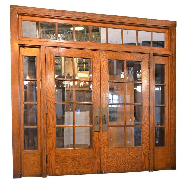 Beautiful Oak Double Door Set With Transom And Sidelights At