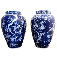 Large Pair of Chinese Blue and White Porcelain Vases with Plum Blossom Motif