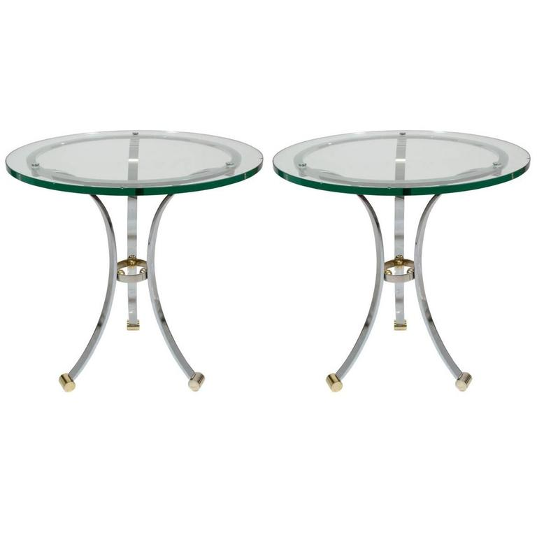 Pair of Chrome and Glass Side Tables by Maison Jansen For Sale