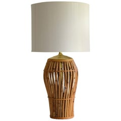 Midcentury Bamboo Table Lamp