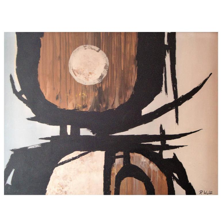 'P. Wolff' Mid-Century Modern Abstract Oil Painting