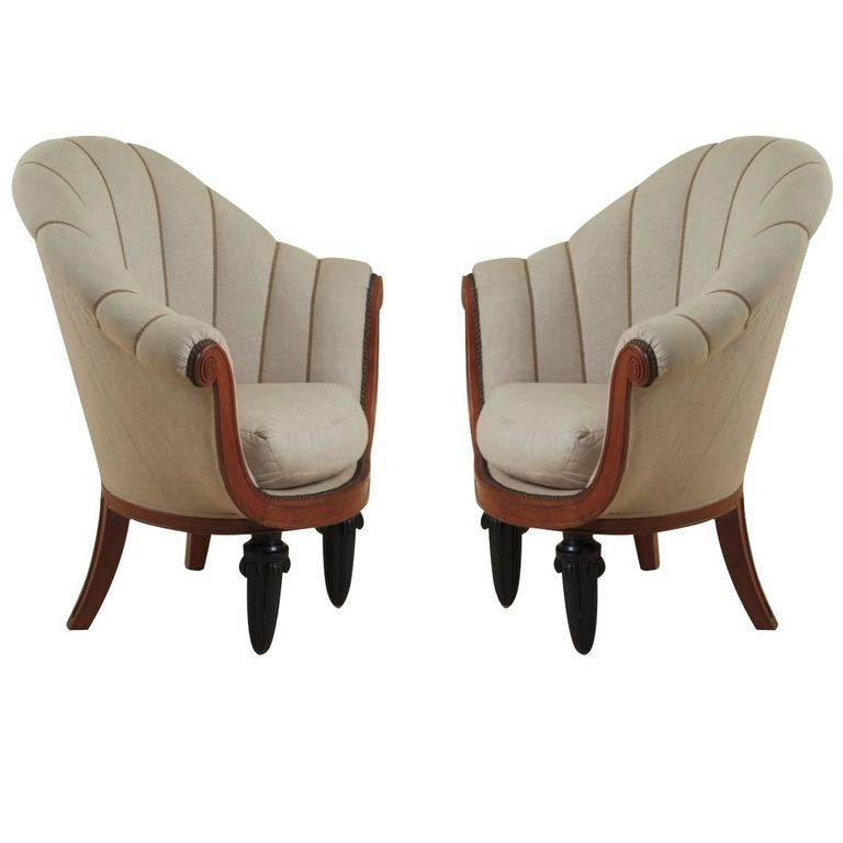 Maurice Dufrène Pair of Early Art Deco Armchairs