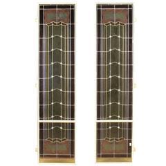 20th Century Pair of Italian Glass Windows