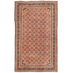 Antique Persian Sultanabad Rug with All Over Design in Rust Red, Blue and Cream