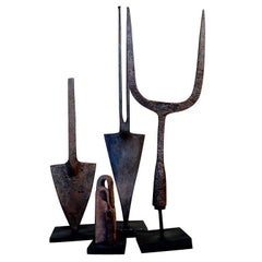 Beautiful Group of 18th Century Spanish Iron Tools Mounted