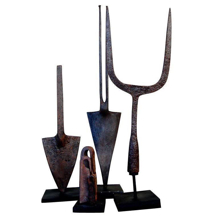 Beautiful Group of 18th Century Spanish Iron Tools Mounted