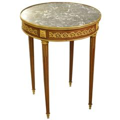 Louis XVI Style Marble-Topped Gueridon Table