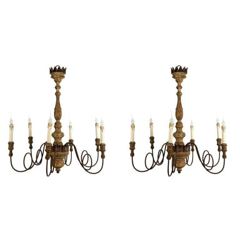 Charming Pair of Italian 18th Style Six-Arm Chandeliers 1