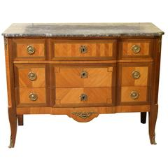 French Transitional Style Marble-Topped Commode