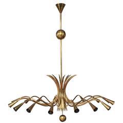 Sixteen-Arm Brass Chandelier in the Style of Guglielmo Ulrich