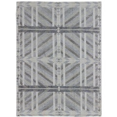 Large Modern Scandinavian/Swedish Geometric Rug in Gray and Pastel Colors