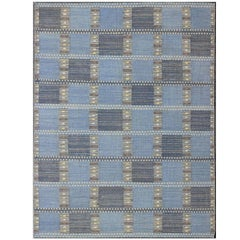 Scandinavian/Swedish Geometric Design Rug with Blue