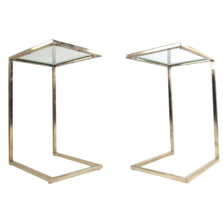 Pair Of Vintage Brass Cantilever End Tables 1
