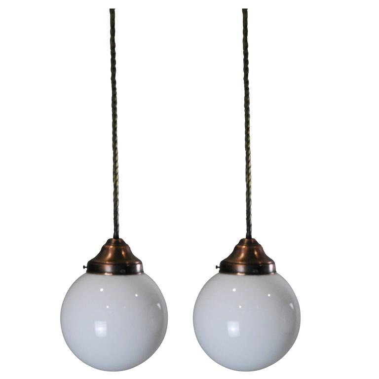 1950 Pair Of Copper/Brass Milk Glass Pendant Lights 1