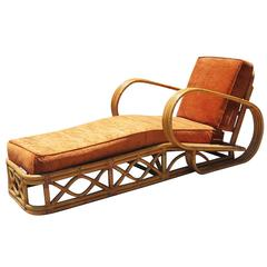 "Restored Rattan Four-Strand ""Speed"" Arm Chaise Longue Chair"