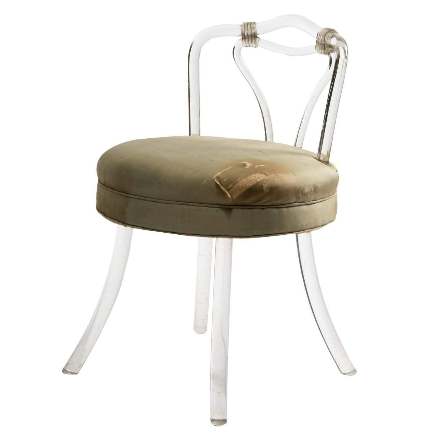 1930s lucite vanity stool at 1stdibs - Acrylic vanity chair ...