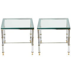 Pair of Chrome and Brass Accent Tables