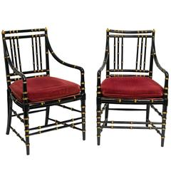 Pair of Faux Bamboo Wood Armchairs