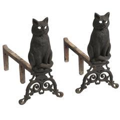 Cast Iron Cat Andirons
