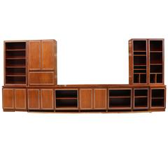 1960s Fitted Library Bookcase and Cabinets