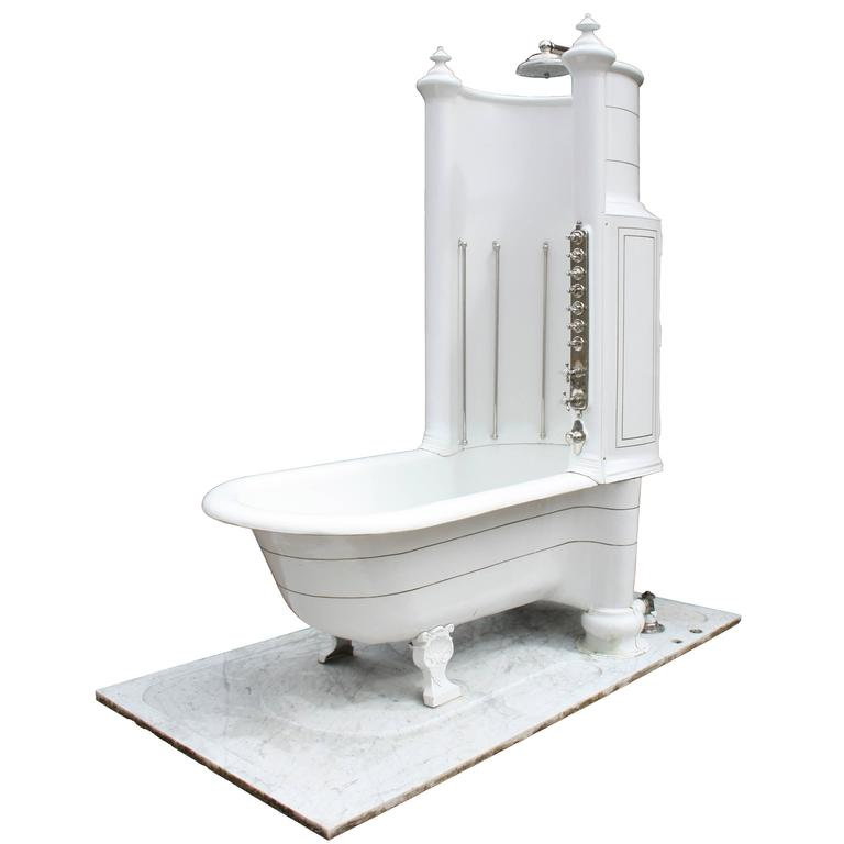 Shower Bath Base royal doulton canopy / shower bath with marble base at 1stdibs