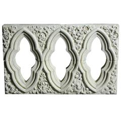 Antique English Carved Caen Stone Window