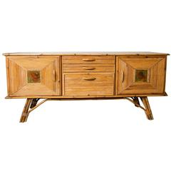 Vintage Oak and Rattan Sideboard