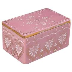 19th Century Pink Opaline Box with White Enamel Palmettes