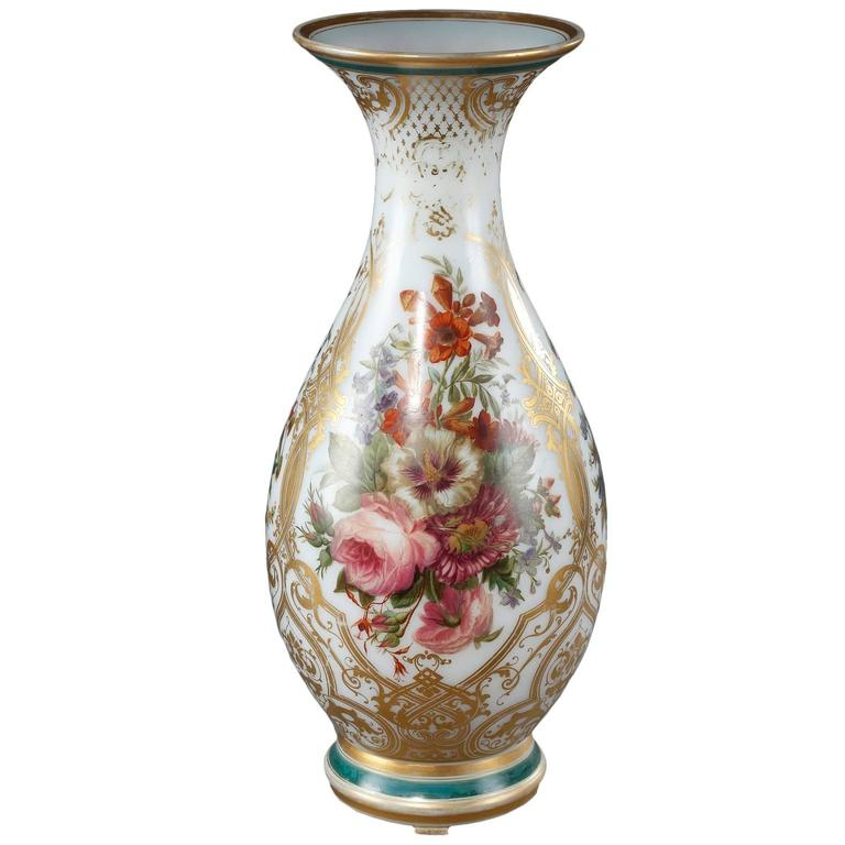 Louis-Philippe Enameled Opaline Crystal Vase, 19th Century For Sale