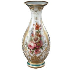 Louis-Philippe Enameled Opaline Crystal Vase, 19th Century