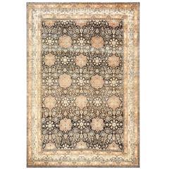 Charcoal Antique Persian Kerman Rug