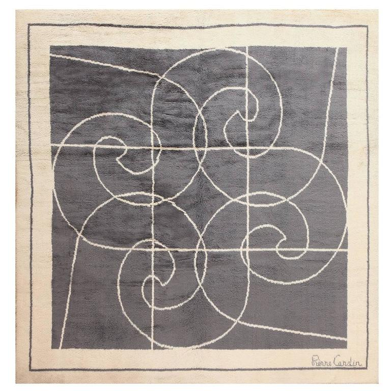 Square Size Mid-Century Rug By Pierre Cardin For Sale At