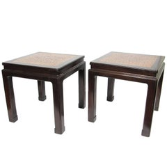 Pair of Mid-Century Dunbar Asian Inspired Side Tables with Cork Inlaid Tops