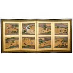 Edo Period Heike and Genji Tale Japanese Screen
