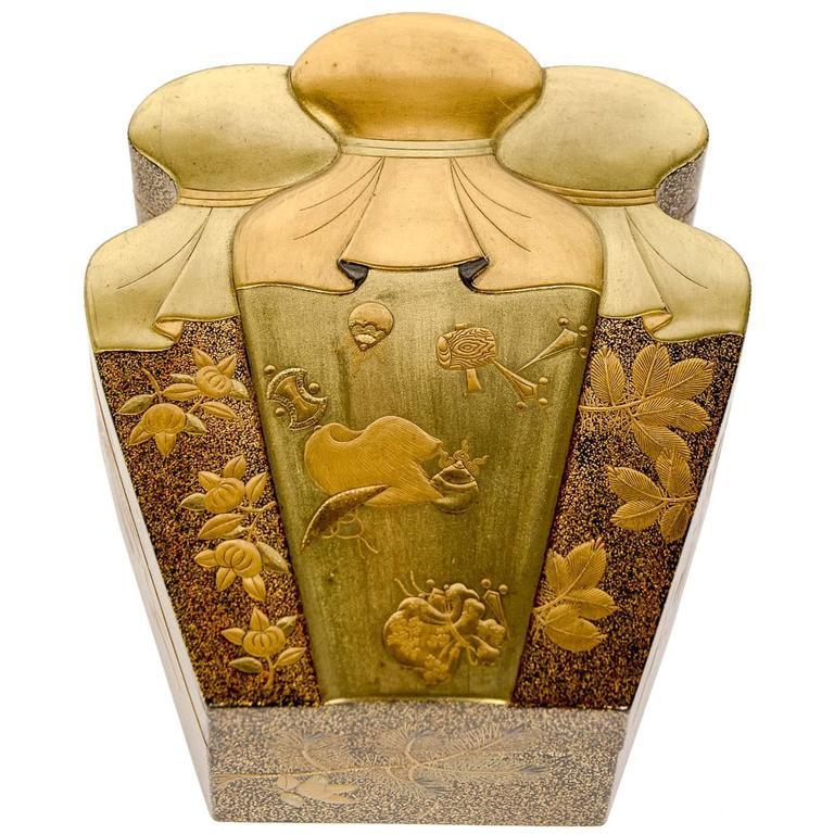 Meiji Japanese Gold Lacquered Treasure Bag Shape Kobako, Box