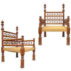 """Pair of Low Punjabi """"Wedding Chairs"""""""