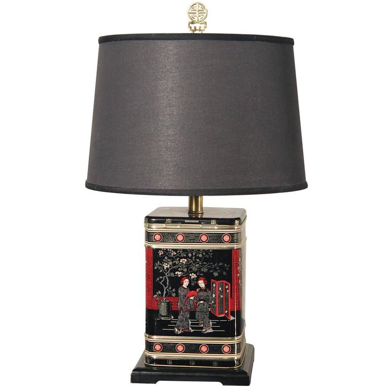 Vintage Chinoiserie Tea Tin Canister Table Lamp Black With Black Shade For  Sale