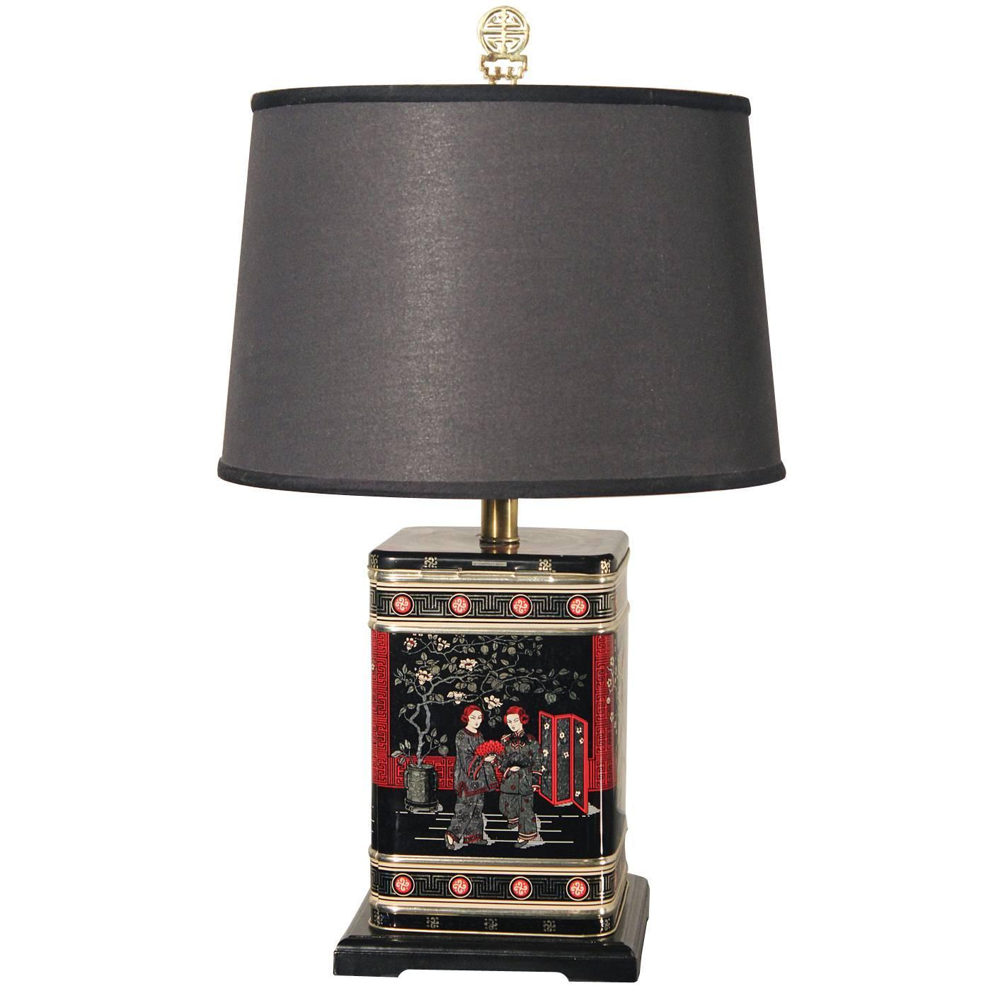 Vintage Chinoiserie Tea Tin Canister Table Lamp Black with Black ...